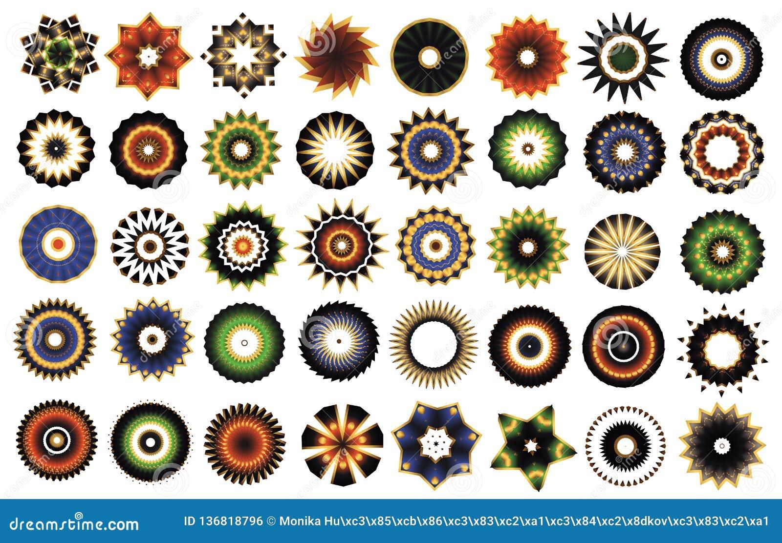 Rosette Guillocheblumenmandalafarbikonen-Sammlungsvektor 40 Stücke