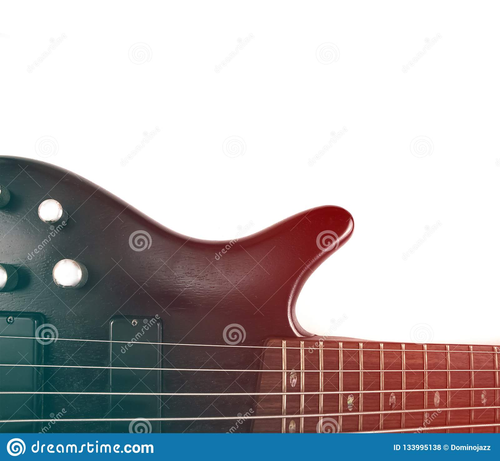 rosewood bass guitar deck and neck with frets and strings with gradient effect stock photo. Black Bedroom Furniture Sets. Home Design Ideas
