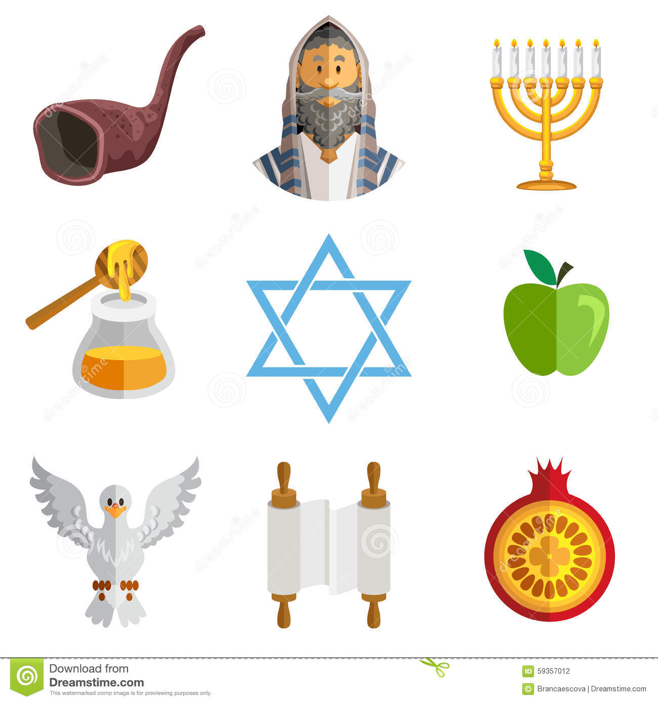 Rosh Hashana Jewish New Year Yom Kippur Icons Stock Vector ...
