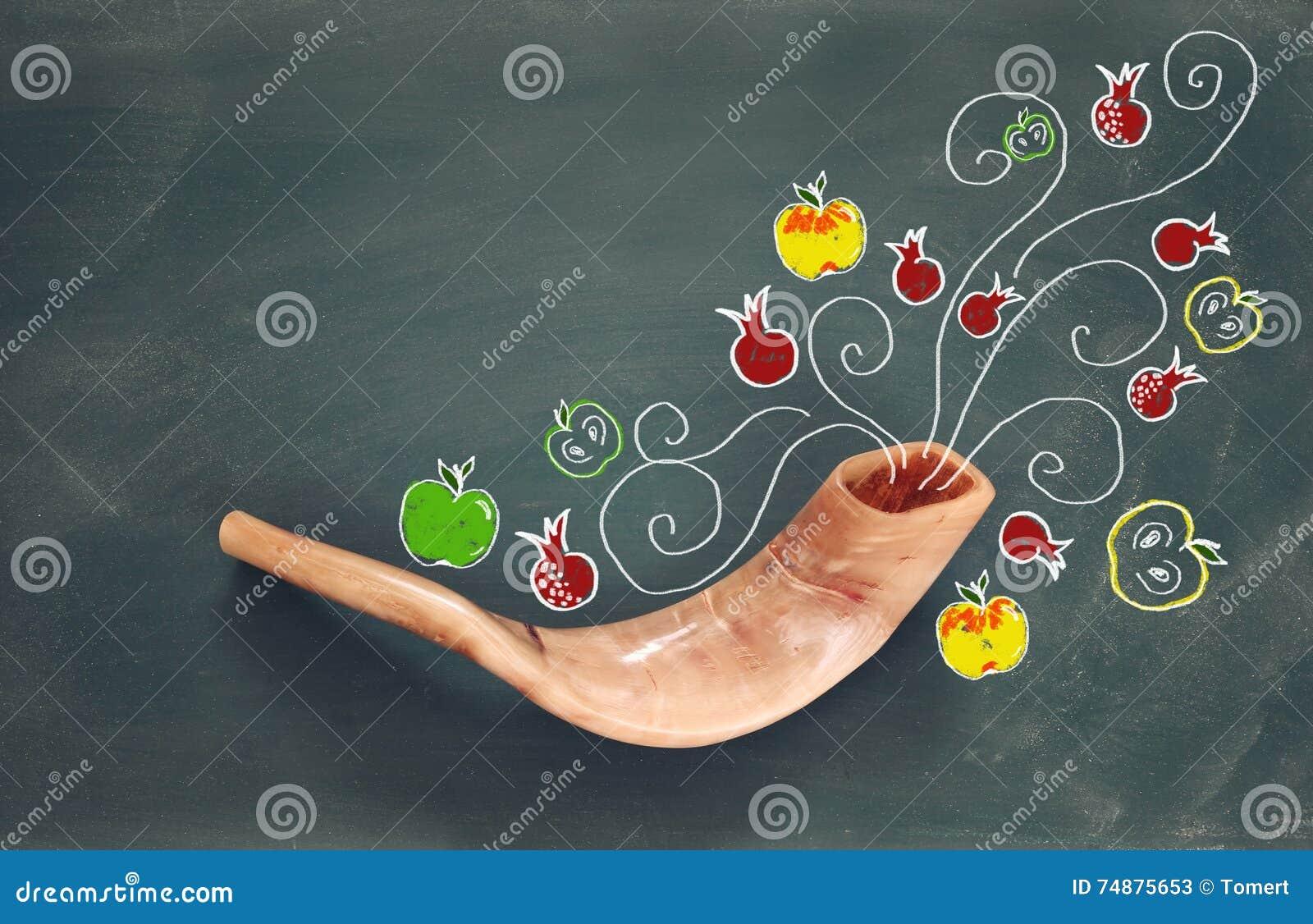 Rosh hashanah (żydowski nowego roku wakacje) symbole tradycyjni