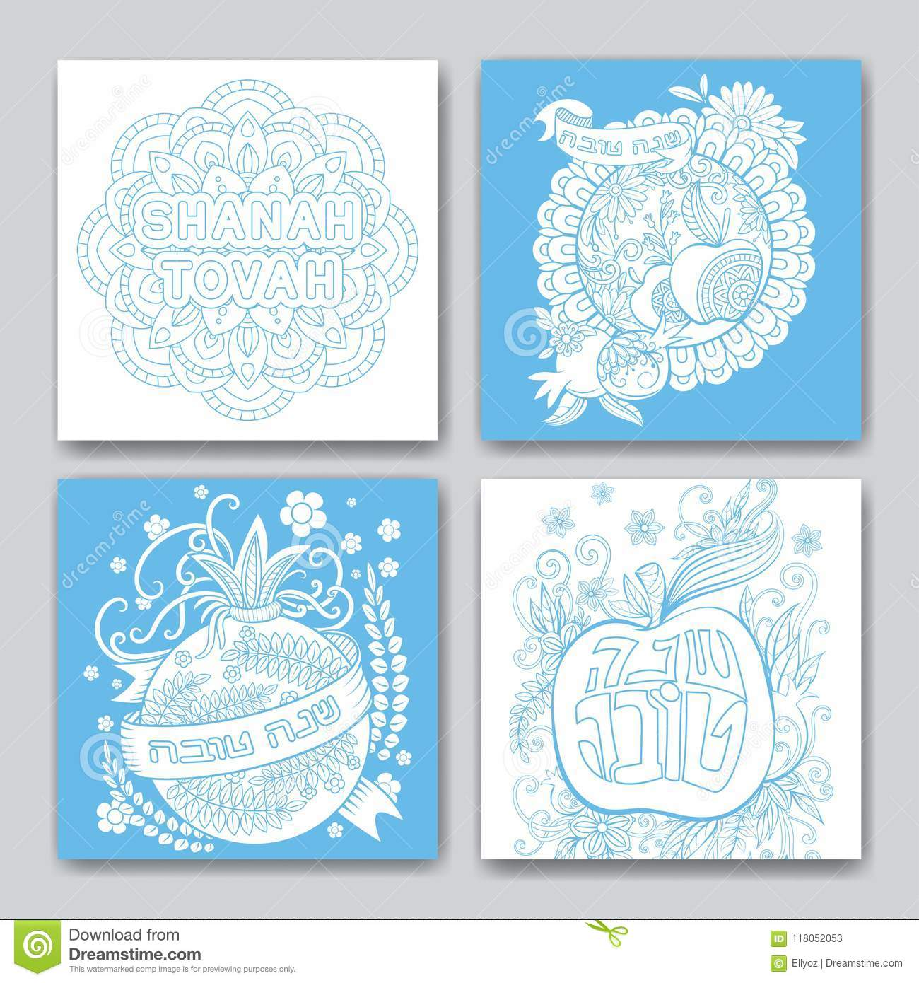 Rosh hashanah cards collection stock vector illustration of download rosh hashanah cards collection stock vector illustration of ornament happy 118052053 download comp m4hsunfo