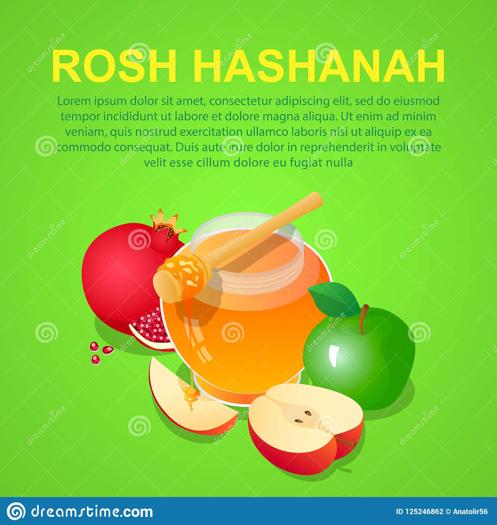 Rosh hashanah concept background isometric of rosh hashanah vector concept background for web design