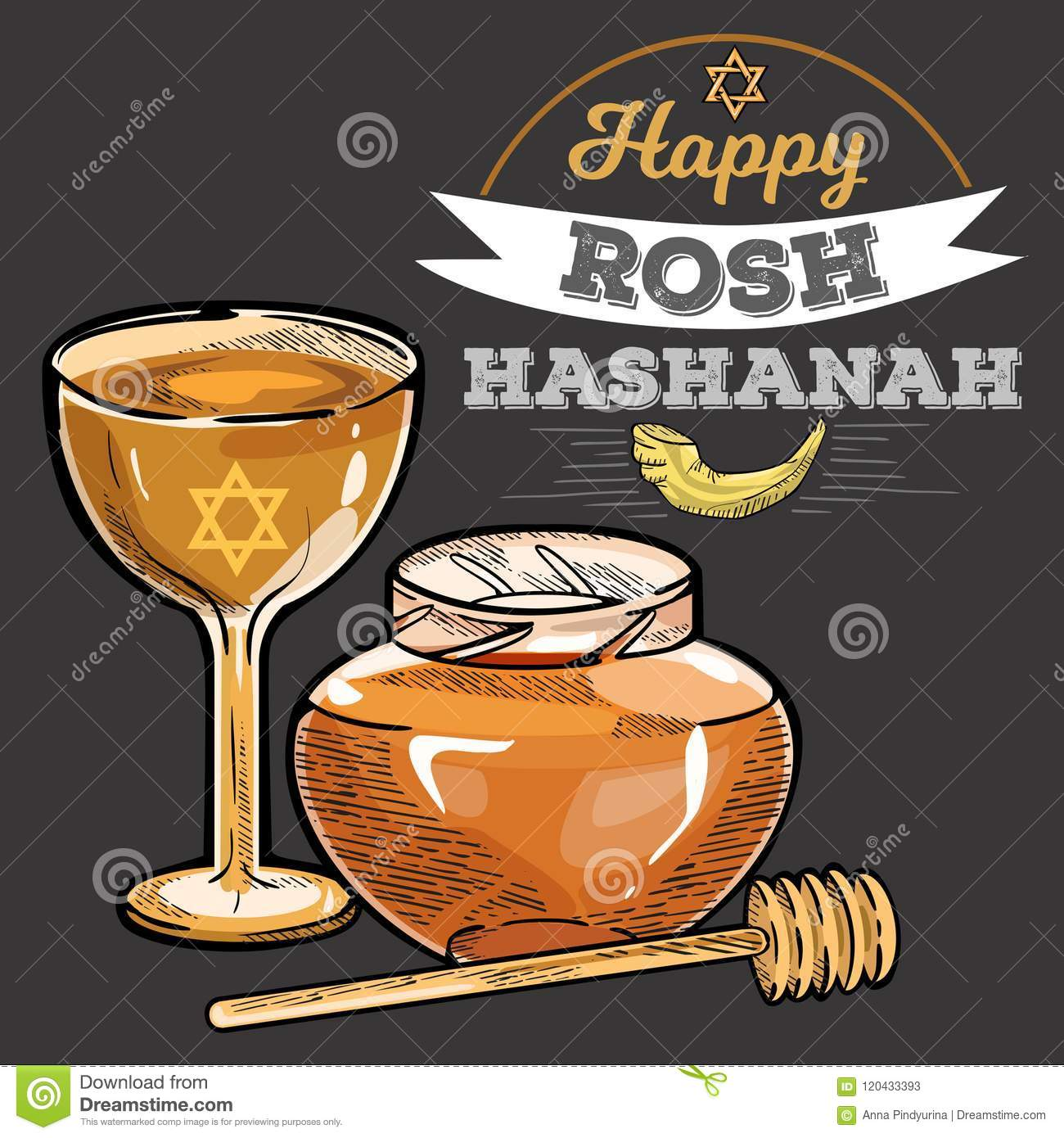 Rosh hashanah greeting card with kippur text lettering happy jewish new year shofar design with logo vector illustration glass of wine and honey cartoon