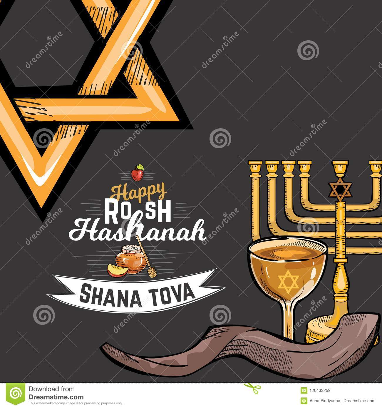 Rosh Hashanah Greeting Card With Kippur Text Lettering Happy Jewish