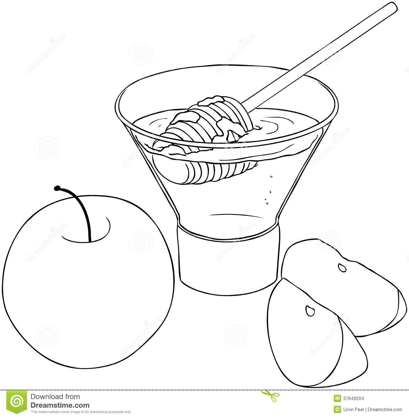 rosh hashanah honey with apples coloring page stock images image