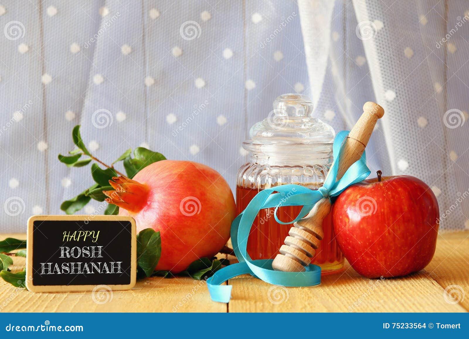 Rosh-hashanah (jüdisches neues Jahr) Konzept Traditionelle Symbole
