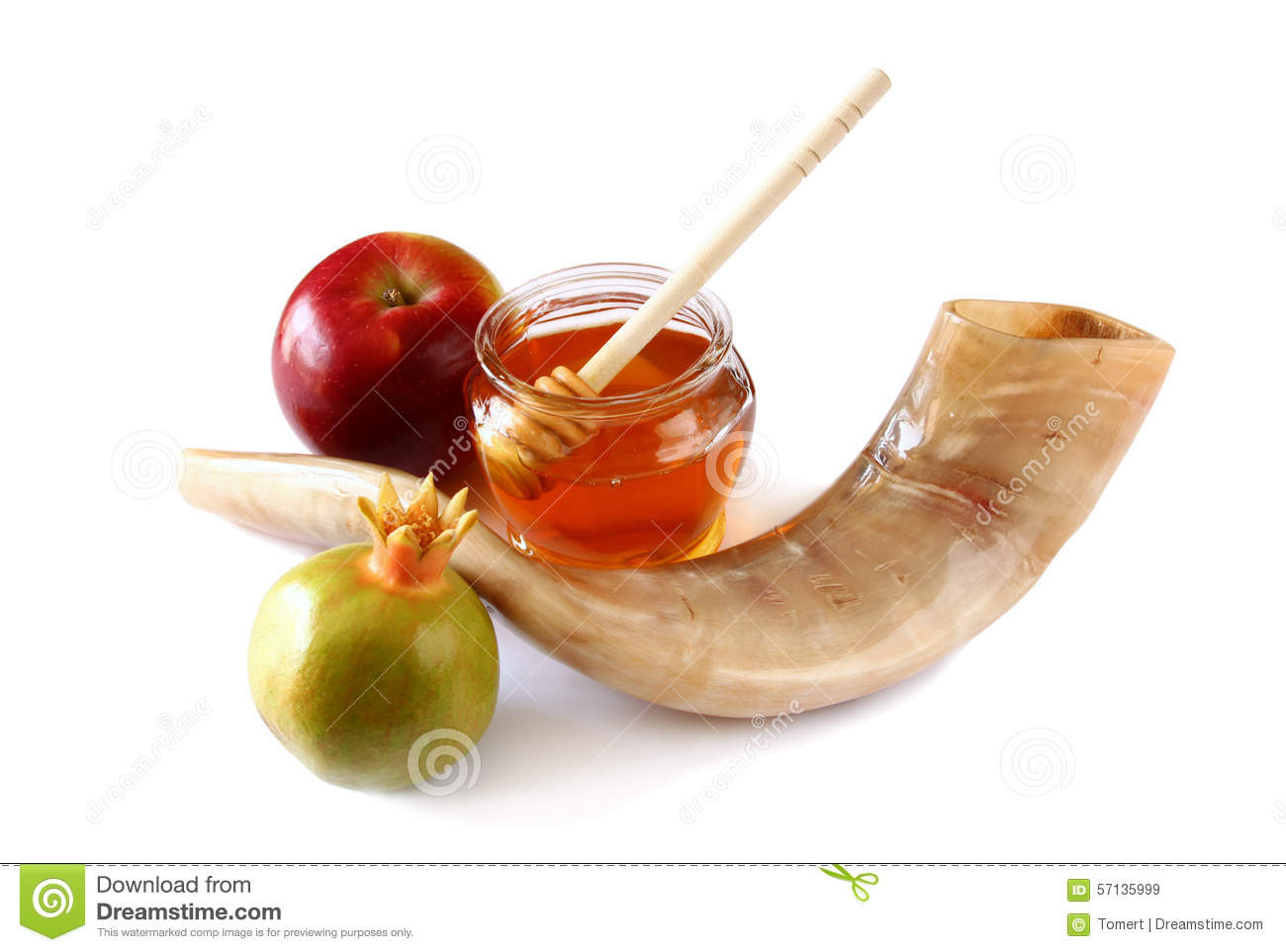 ... rosh hashanah (jewesh holiday) concept - shofar (horn), honey