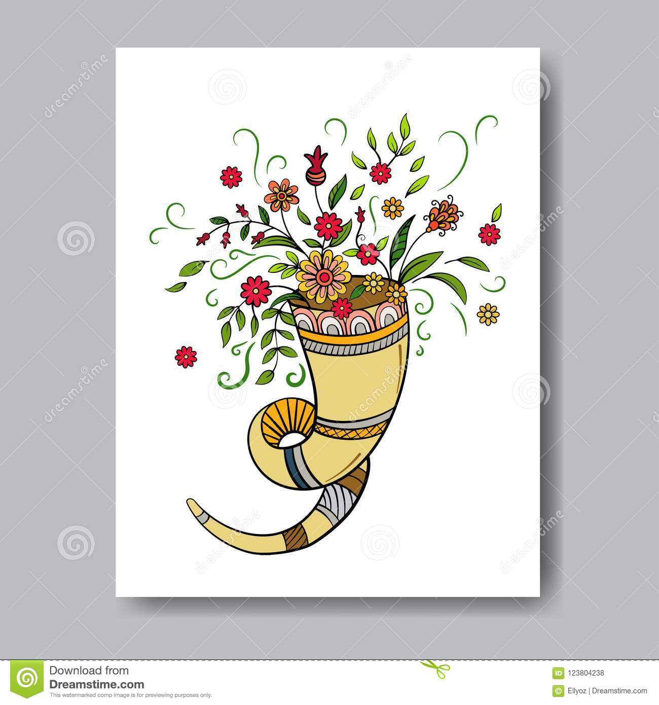 Rosh Hashanah Greeting Card Stock Vector Illustration Of