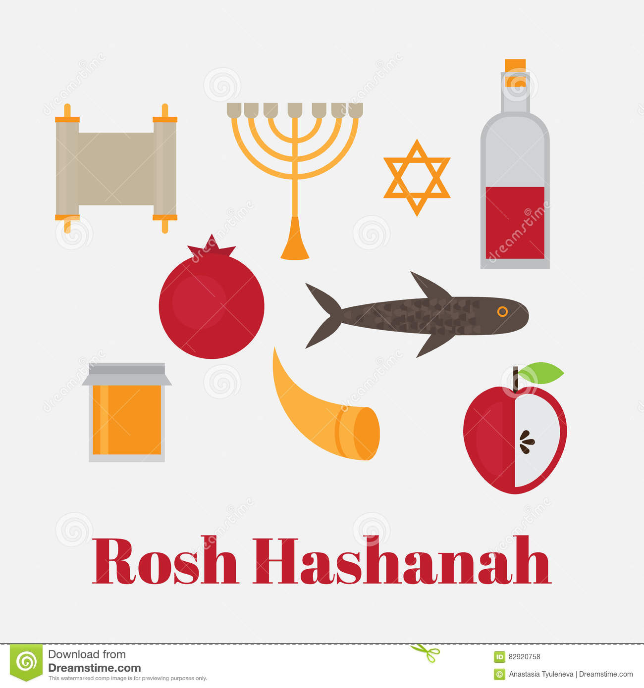 Rosh Hashanah Jewish New Year Greeting Card Hebrew Symbols Judaism