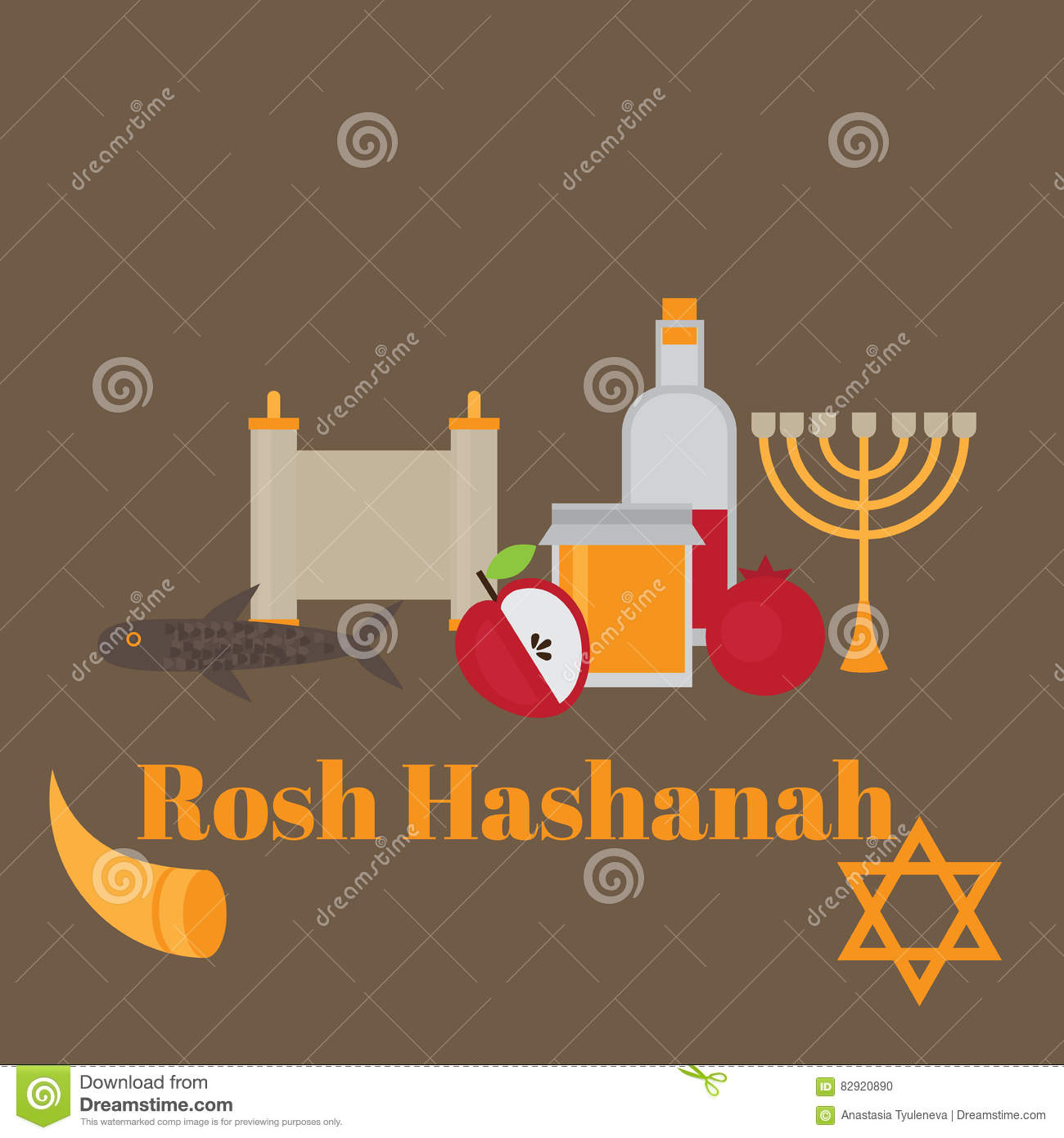 Rosh hashanah jewish new year greeting card hebrew symbols rosh hashanah jewish new year greeting card hebrew symbols judaism elements flat horn kristyandbryce Choice Image