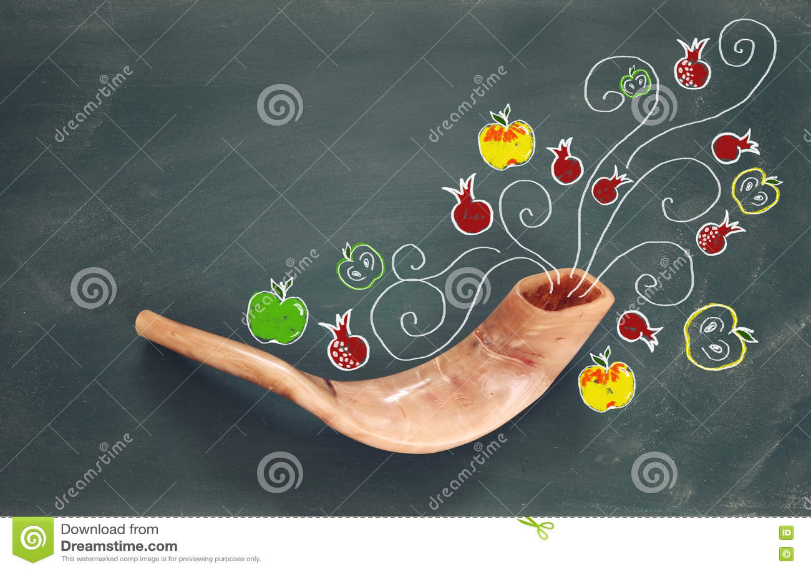Rosh hashanah (jewish New Year holiday). Traditional symbols