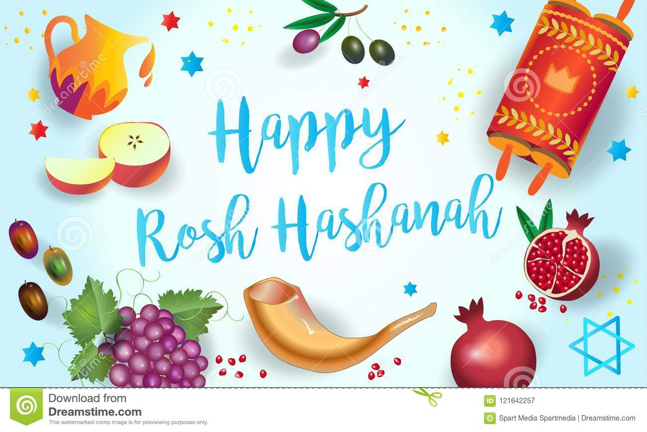photograph regarding Rosh Hashanah Greeting Cards Printable called Rosh Hashanah Shana Tova Card Jewish Holiday vacation Inventory Vector