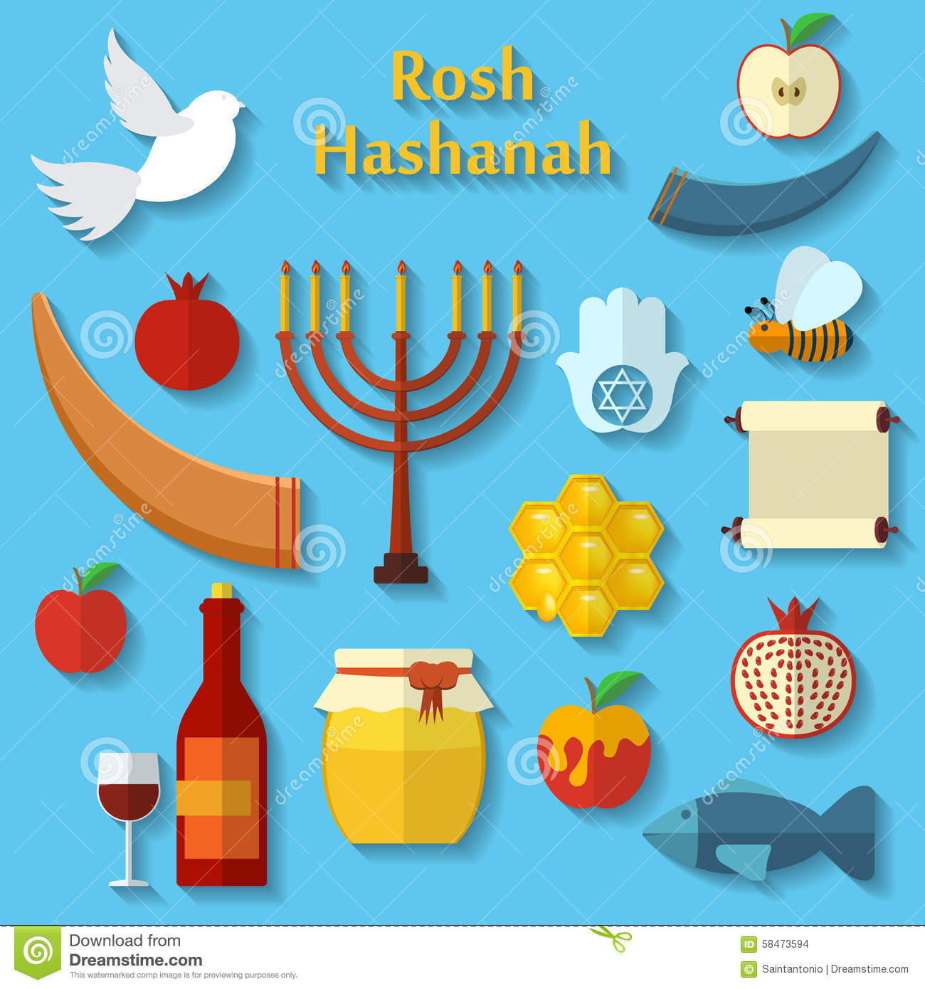 rosh hashanah shana tova or jewish new year flat vector icons set with honey
