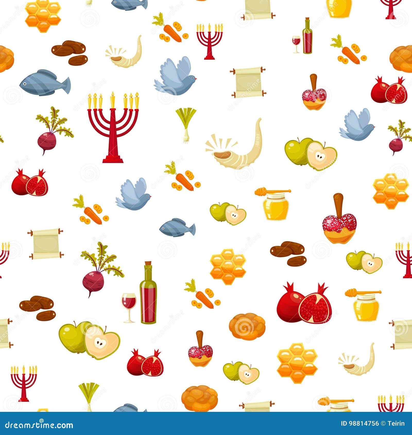 Rosh Hashanah, Shana Tova ou modèle sans couture juif de nouvelle année, avec du miel, pomme, poisson, bouteille, torah, laitue,