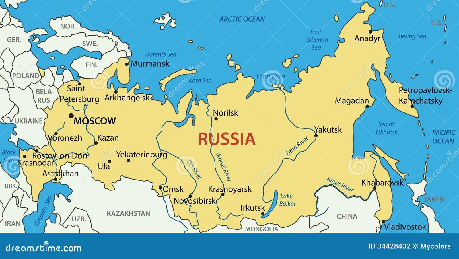 Rosja Mapa Ilustracja Wektor Ilustracja Zlozonej Z Bering
