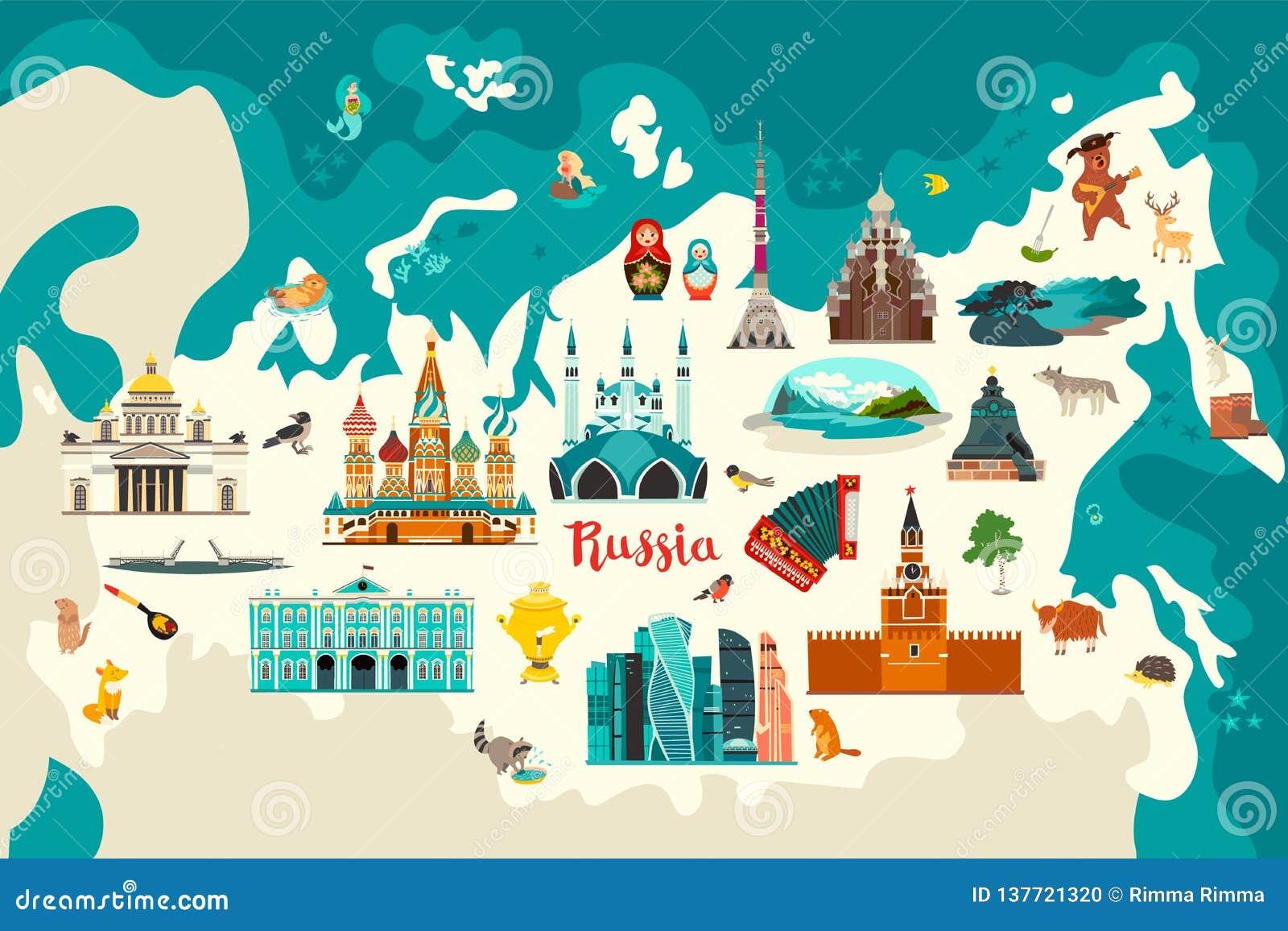 Rosja mapy wektorowa ilustracja Ręka remisu atlant z rosyjskimi punktami zwrotnymi,