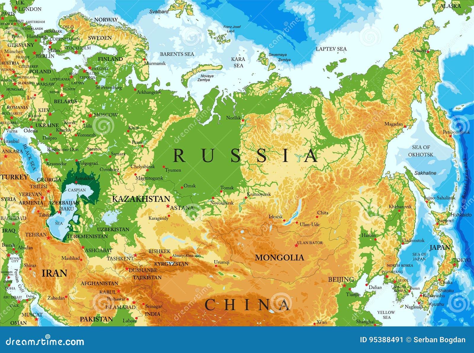 Rosja Reliefowa Mapa Ilustracja Wektor Ilustracja Zlozonej Z