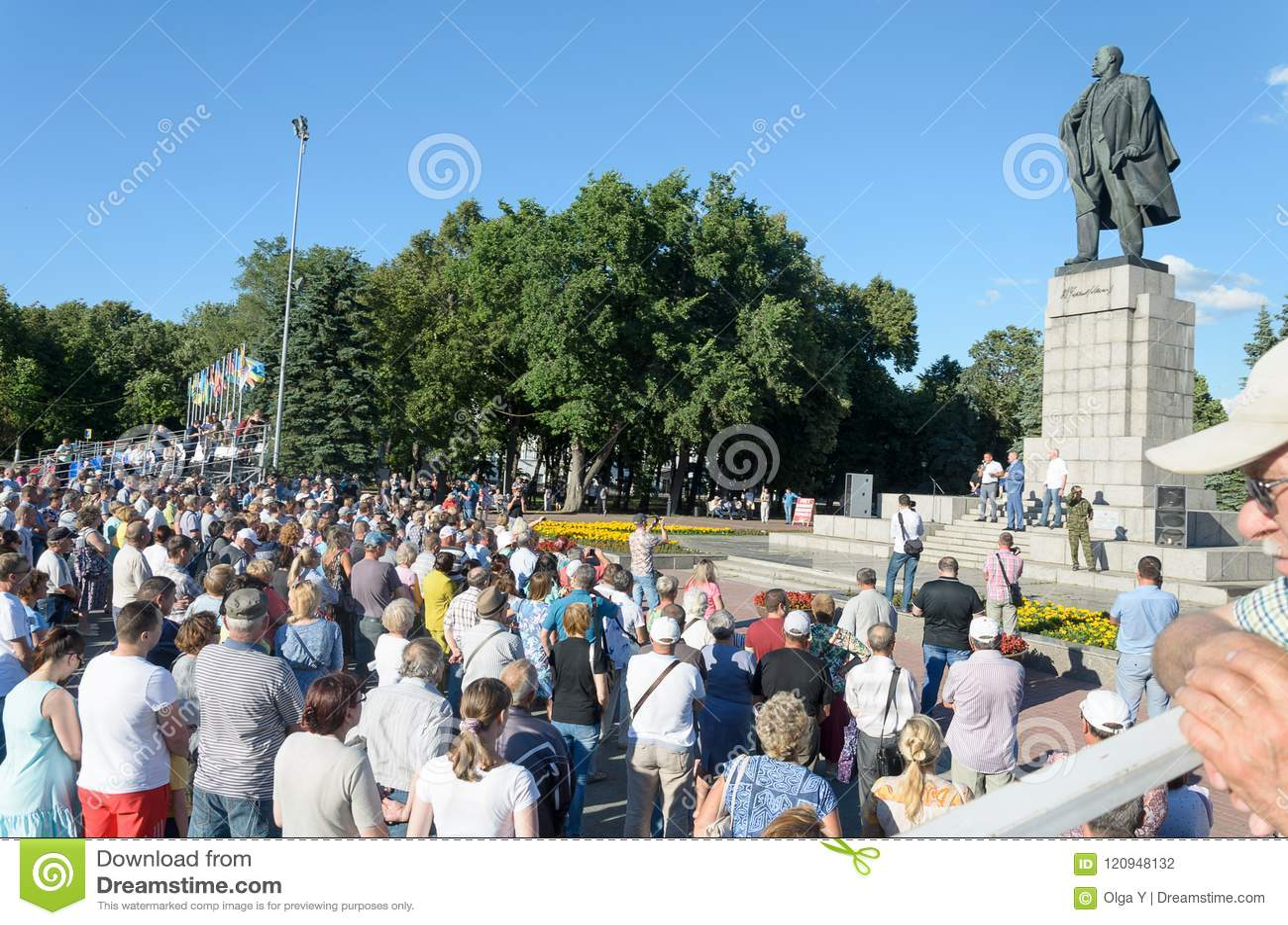 Rosja, Ulyanovsk, Lipa 9, 2018 wiec przeciw podnosić podatki i wieka emerytalnego