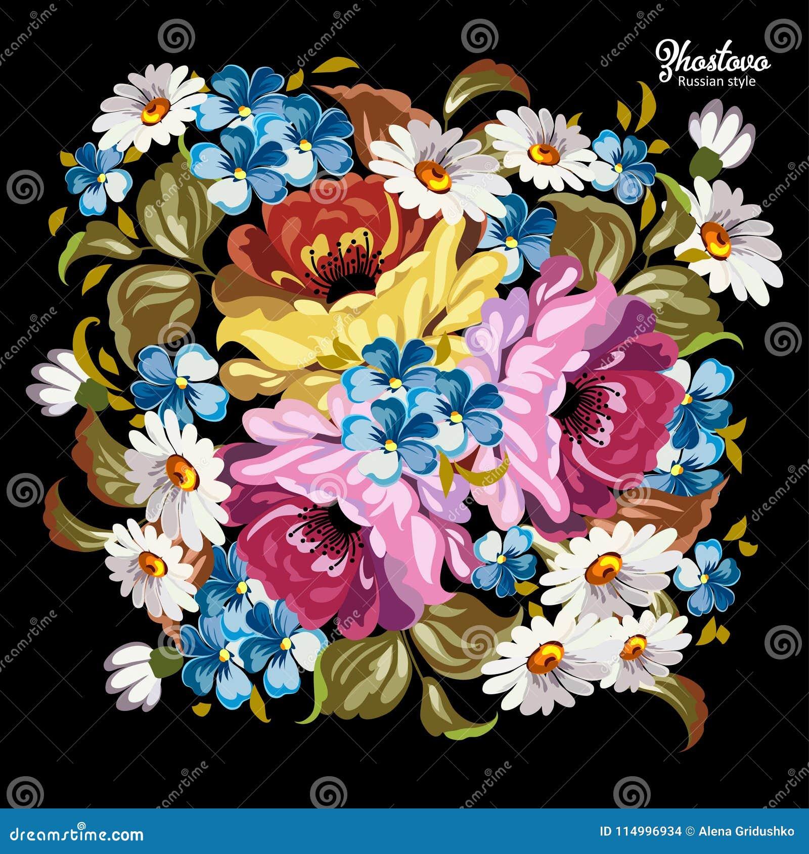 Rosjanina Zhostovo obraz, rosjanin stylowa dekoracja i projekta element,