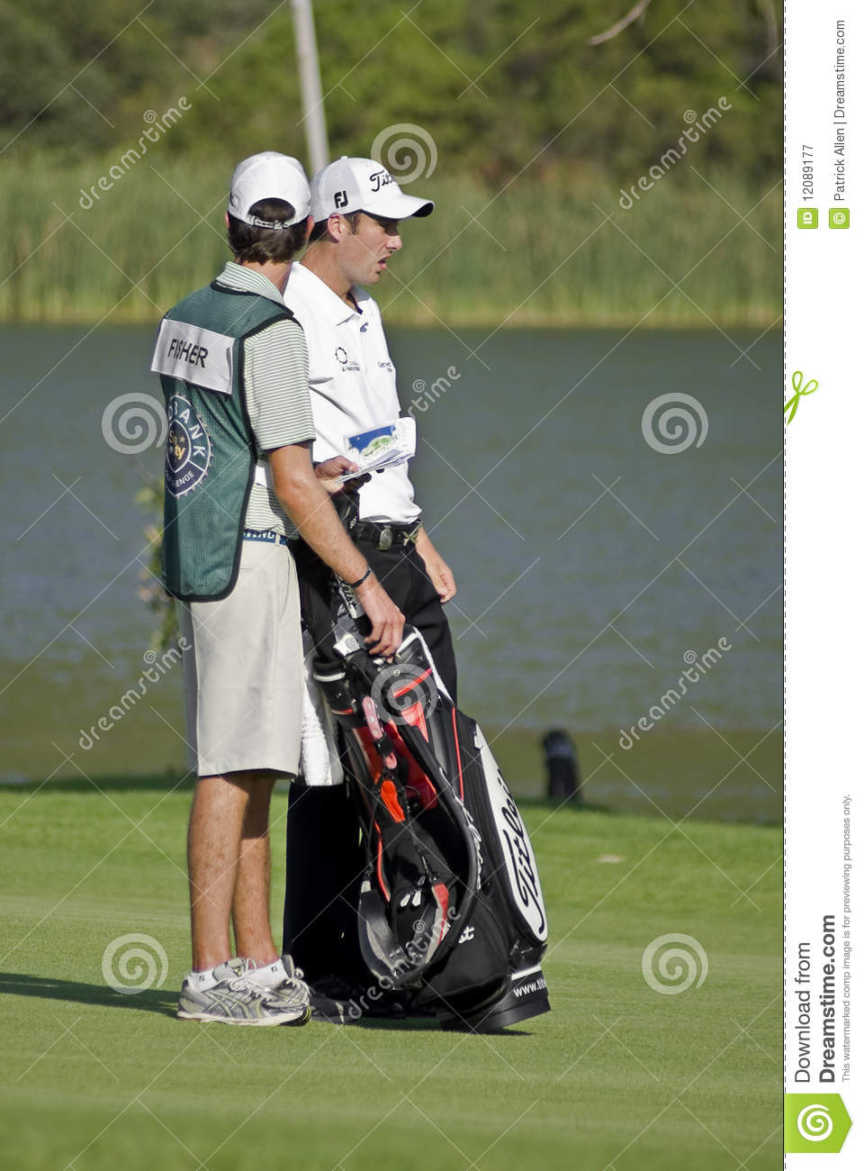 Ross Fisher & Caddy, On The 17th Fairway Editorial Photography