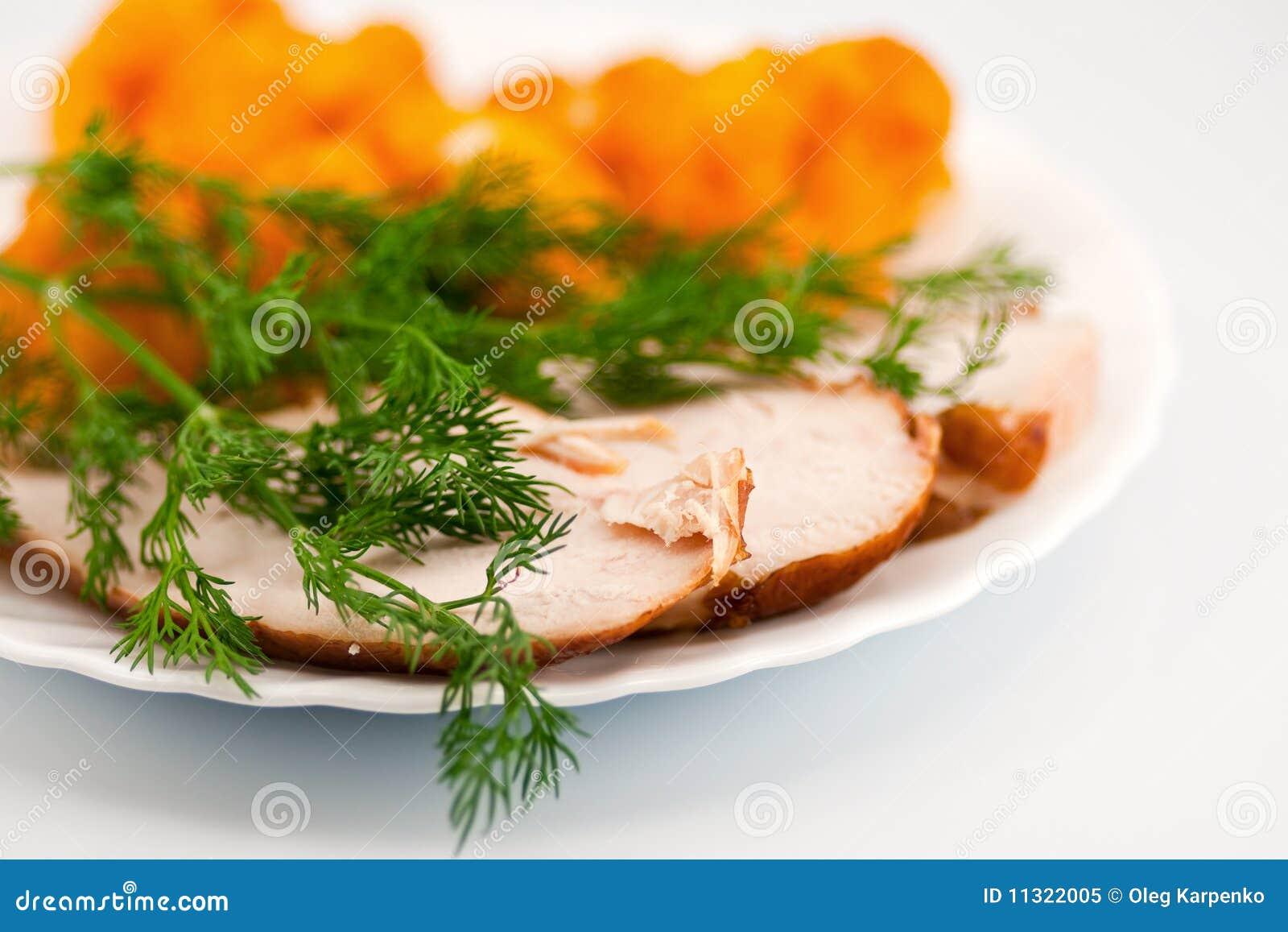 Rosted Blumenkohl mit chiken Fleisch und Dill