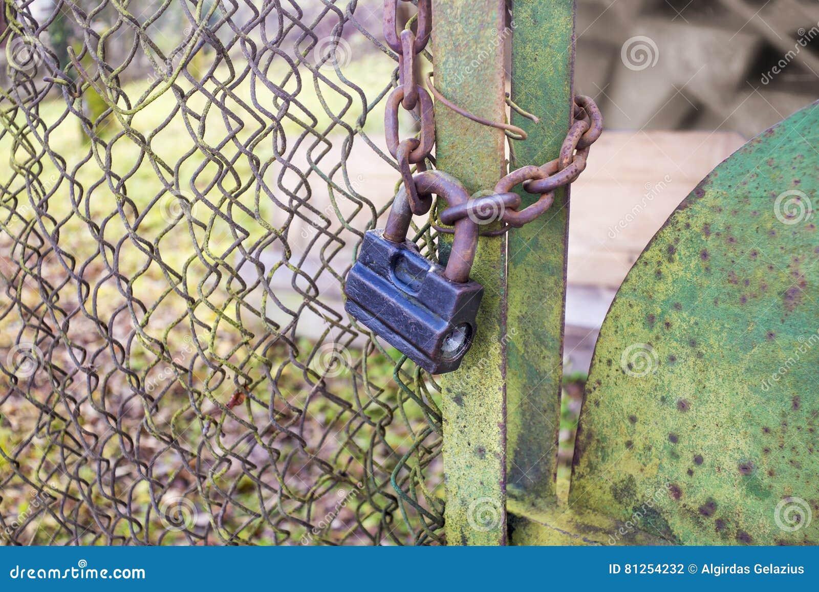 Rostig gammal hänglås och kedja på ett grönt staket