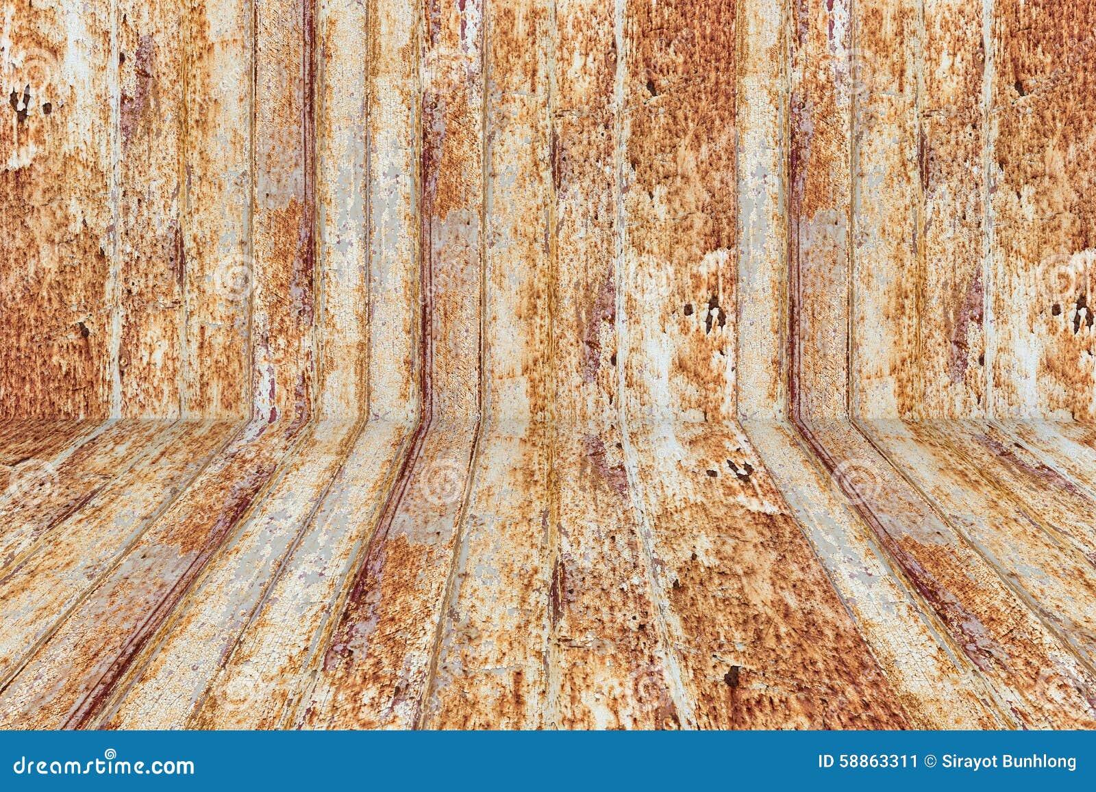 Rostig metallyttersida med rikt och olikt texturperspektiv