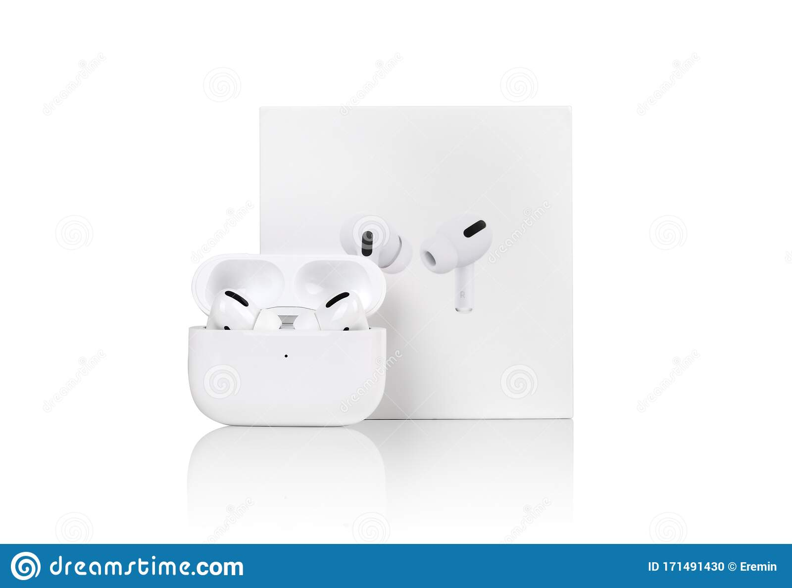 Apple AirPods Pro On A White Background. Wireless Headphones In A