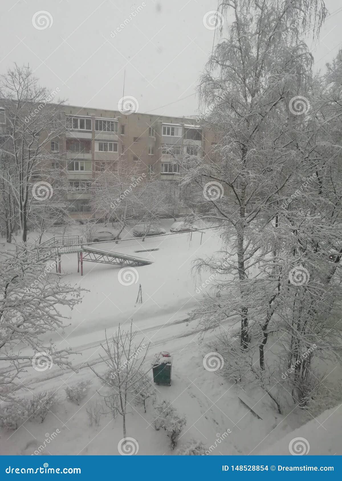 Rosyjska zima, pogodowy piękny