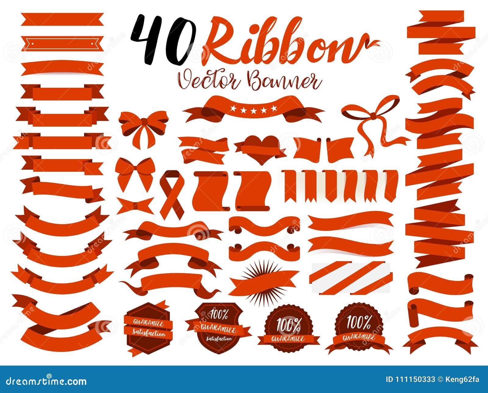 40 Rot-Bandvektorillustration mit flachem Design Schloss das grafische Element als Retro- Ausweis, Garantieaufkleber, Verkaufstag