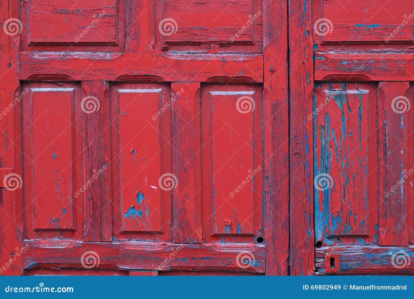 Rot Gemalter Holztürrahmen-Detailhintergrund Stockbild - Bild von ...