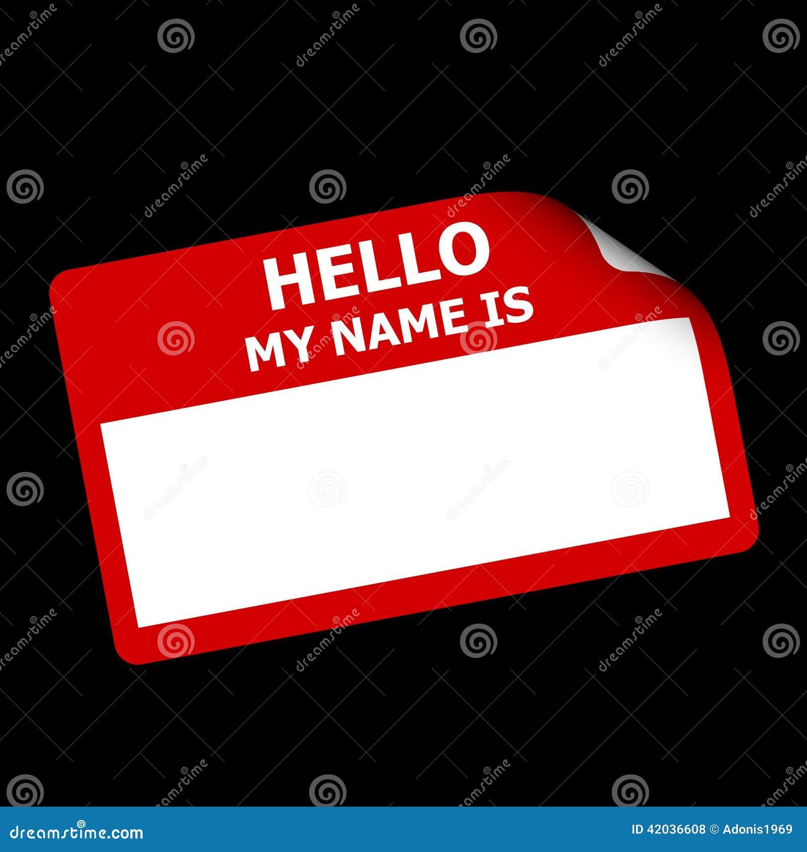 Rot Hallo Mein Name Ist Aufkleber Stock Abbildung