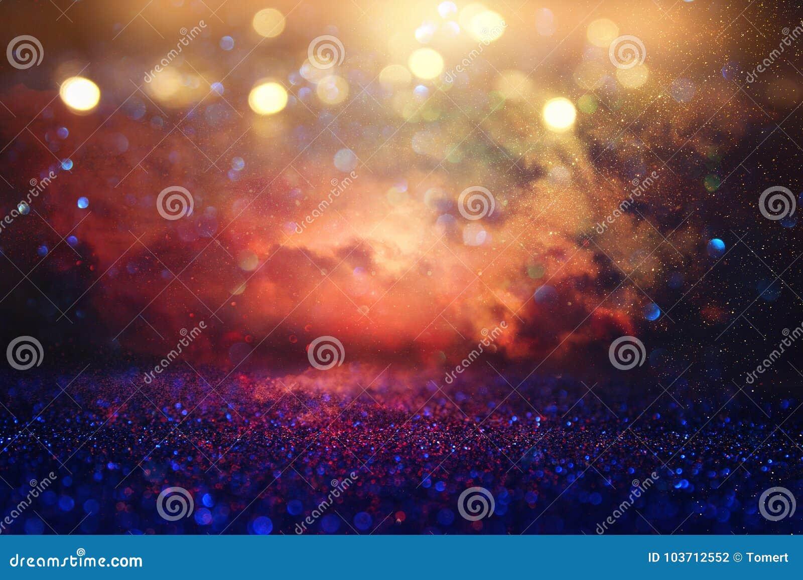 Rot, Schwarzes und Goldfunkelnweinlese beleuchtet Hintergrund defocused