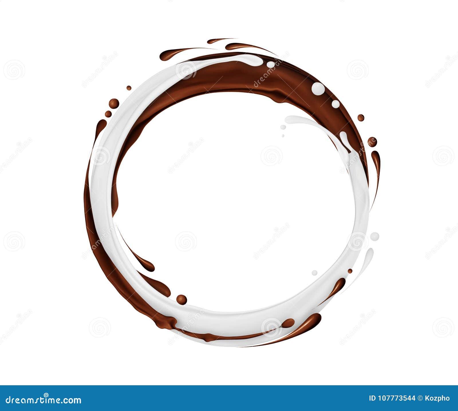 A rotação circular do chocolate e do leite espirra