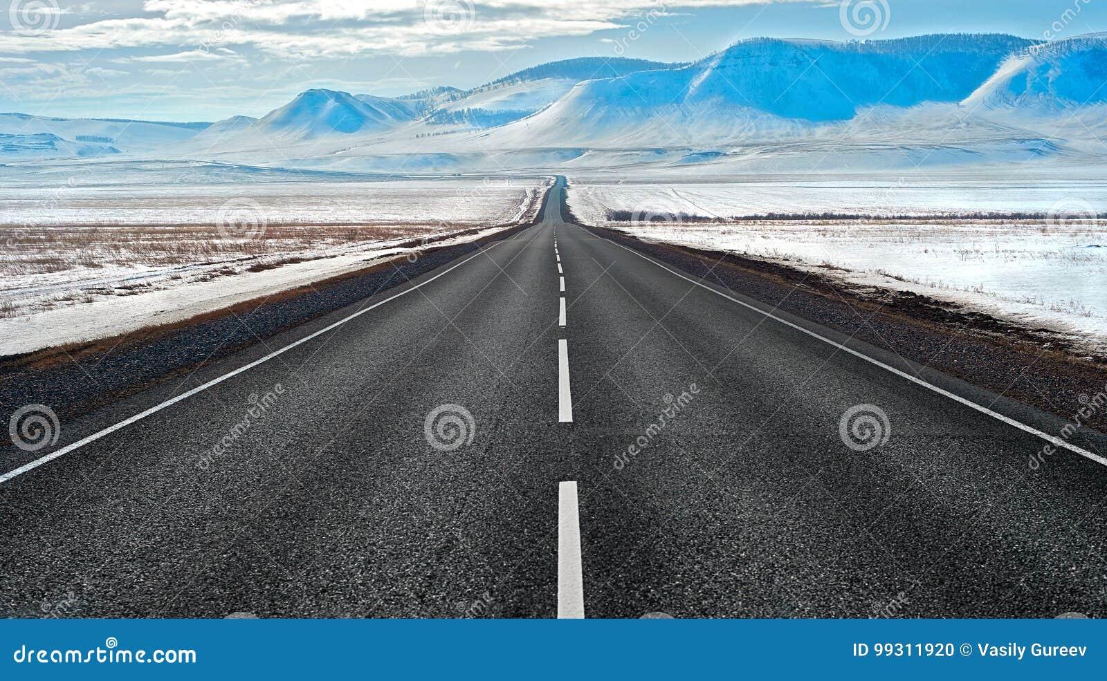 Rota da estrada em Sibéria