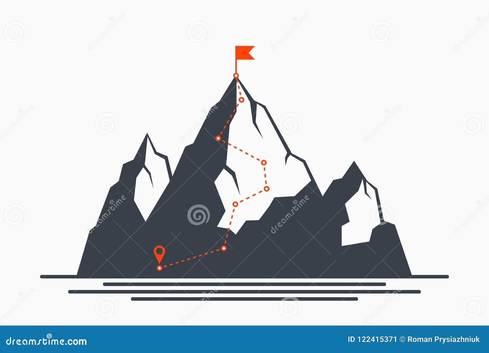 Rota do alpinismo a repicar Conceito do trajeto ao sucesso e objetivo, maneira de progresso Plano para escalar à parte superior d