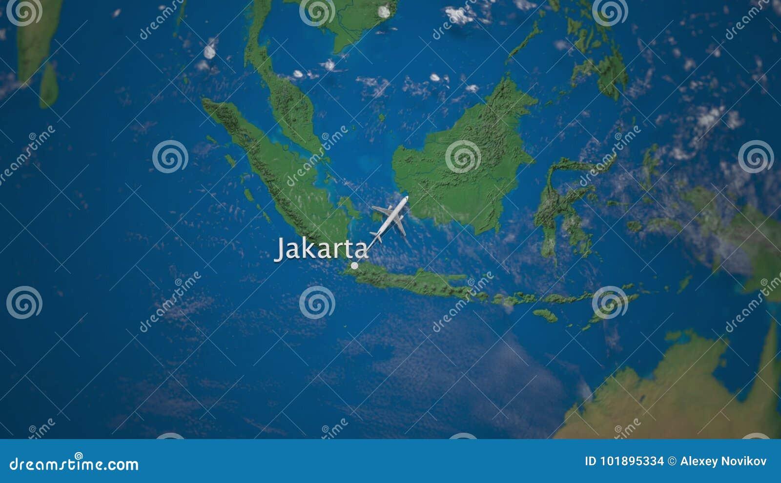 Rota do voo comercial do avião de Jakarta ao Tóquio no globo da terra Animação internacional da introdução da viagem