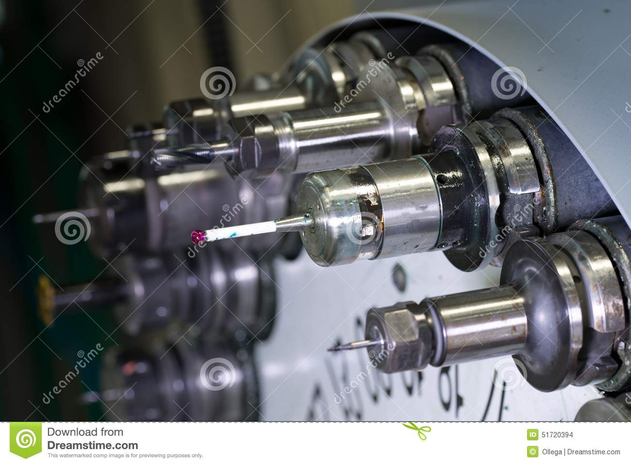 Rotating Head With Tools At CNC Lathe In Workshop Stock ...