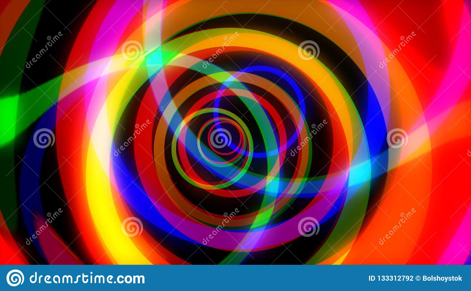 Rotating rainbow swirl. Seamless loop. Psychedelic tunnel multicolored trip. Computer generated abstract motion