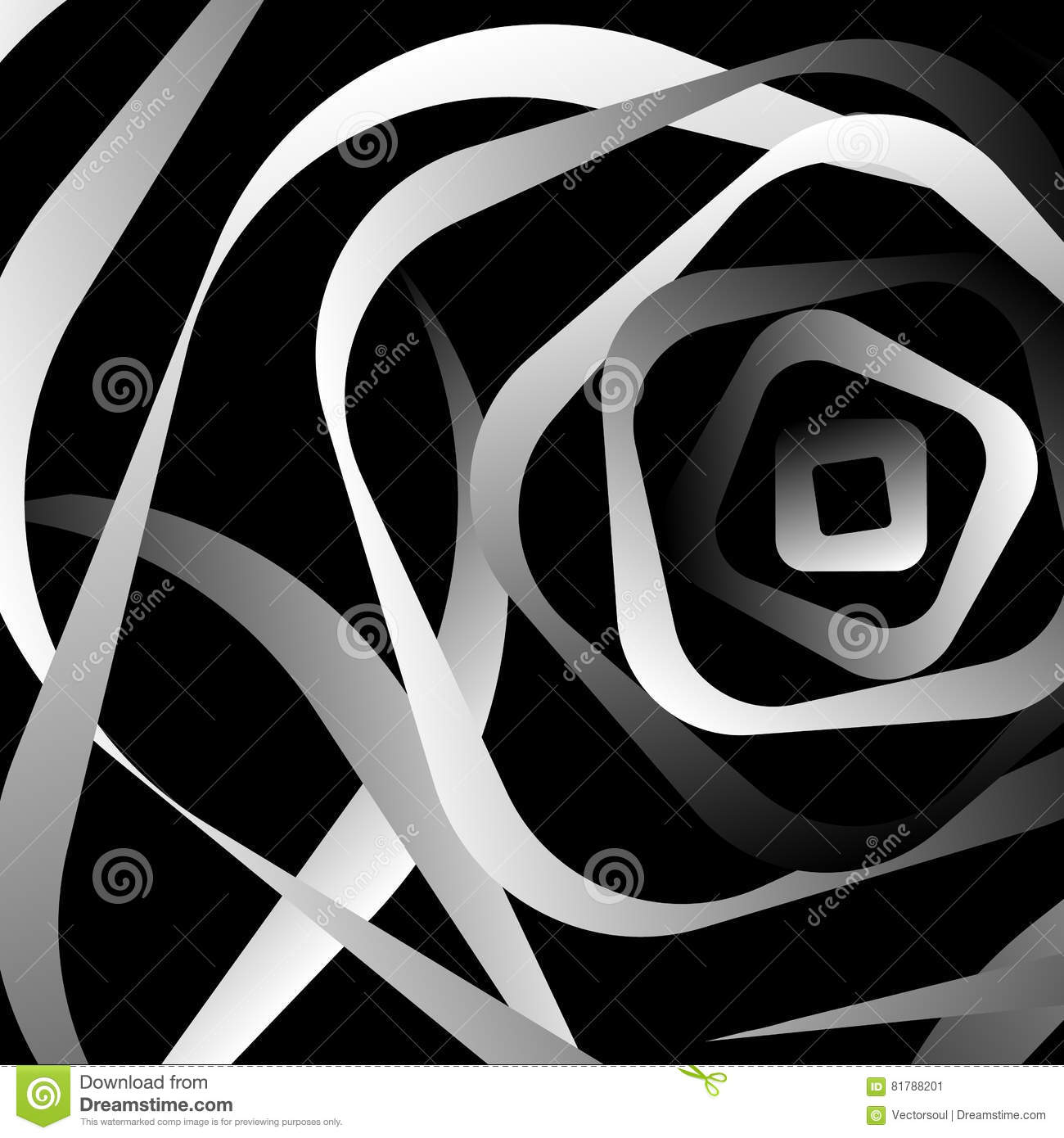 Rotating rounded corner squares. Abstract monochrome graphic.