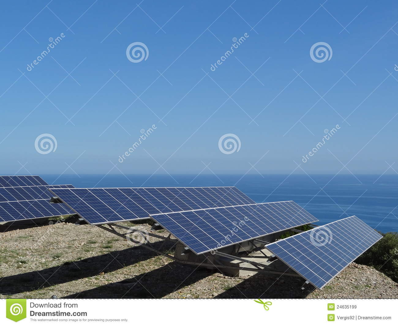 Solar panels by sea stock image. Image of photovoltaic ...