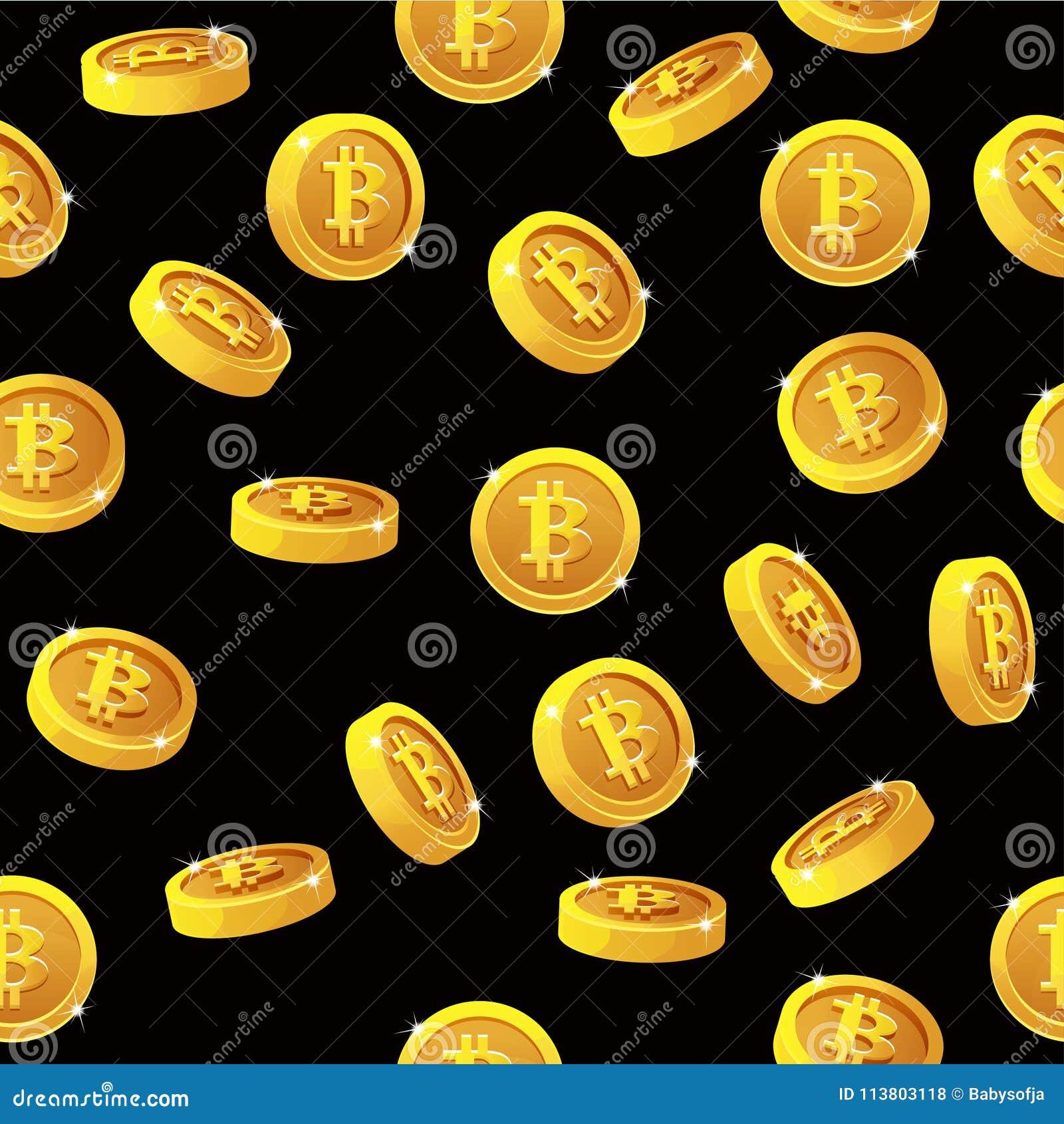 Rotation Bitcoin Coins Seamless Pattern  Digital Internet