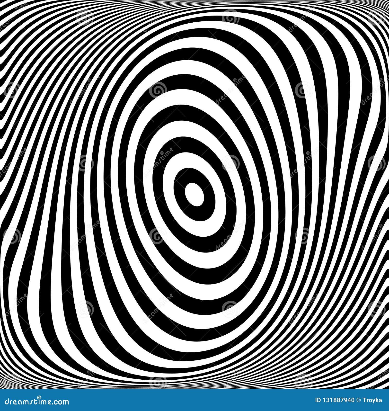 Rotation torsion movement illusion. Oval lines texture