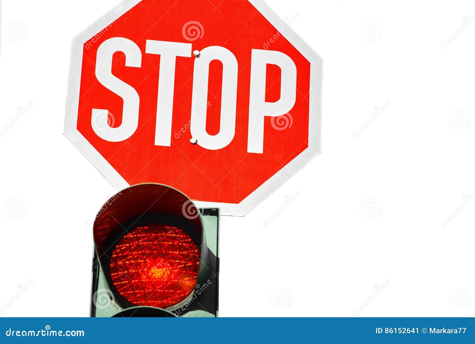 Rote Ampel Und Ein Stoppschild Stockbild Bild Von Sicherheit