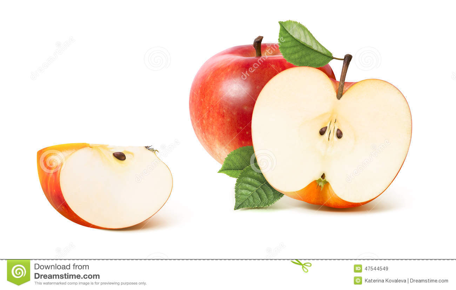 Rote Apfelhälfte und entferntes Viertel lokalisiert auf Weiß
