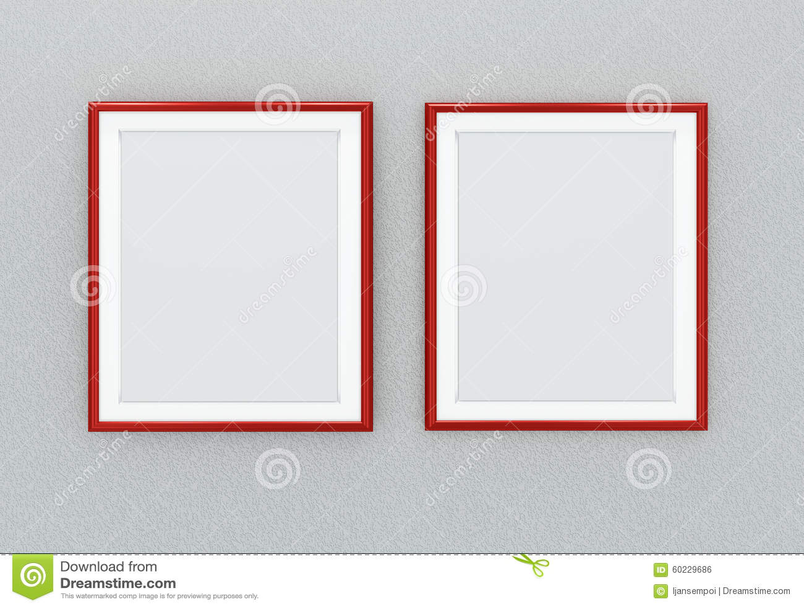 Rote Bilderrahmen stock abbildung. Illustration von leer - 60229686