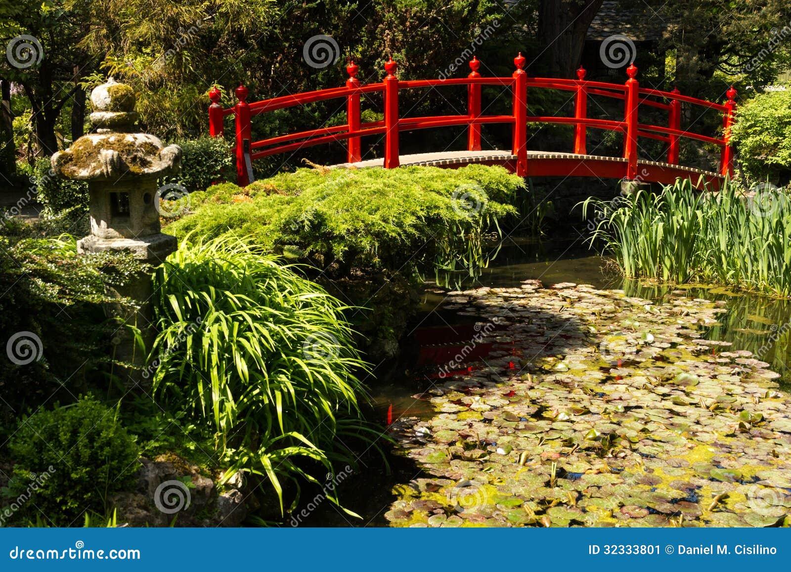 Rote Brücke. Die japanischen Gärten des irischen Hauptgestüts.  Kildare. Irland