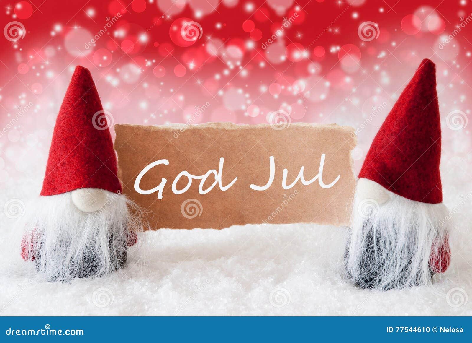 rote christmassy gnomen mit karte gott jul bedeutet frohe. Black Bedroom Furniture Sets. Home Design Ideas