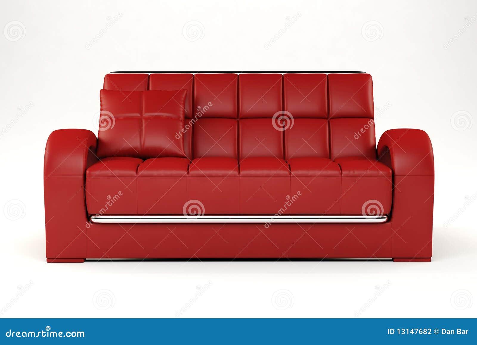 Rote Couch 3d Auf Weiß Stock Abbildung Illustration Von Idee 13147682