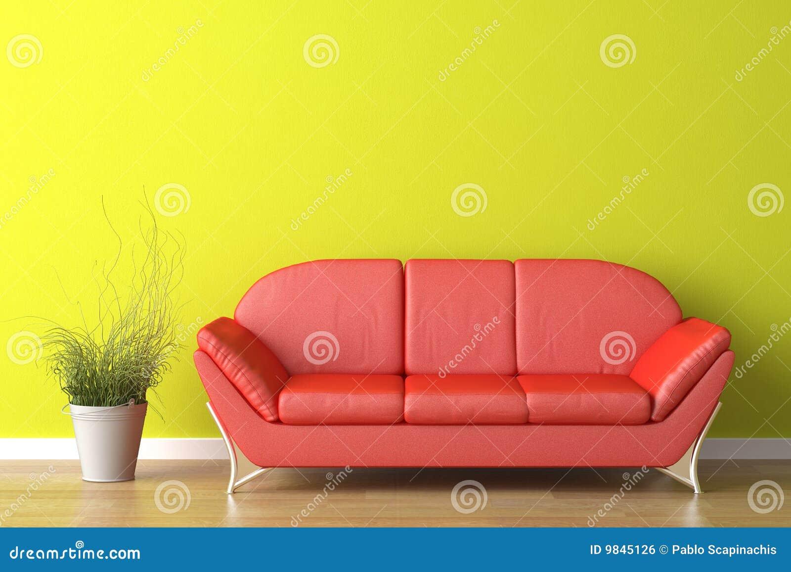 Rote Couch Der Innenarchitektur Auf Grün Stock Abbildung
